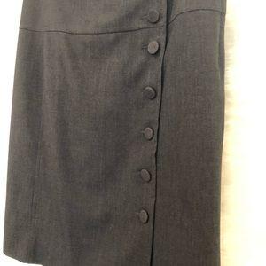 Anthropologie Elevenses button grey skirt Sz 8